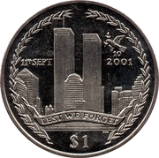 1 Dollar Elizabeth II (10th Anniversary-Attack on the Twin Towers) – revers