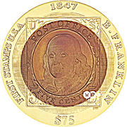75 Dollars - Elizabeth II (Benjamin Franklin stamp) – revers