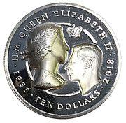 10 Dollars - Elizabeth II (Sapphire Coronation) – revers