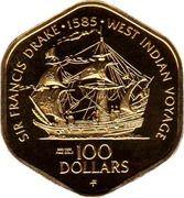 100 Dollars - Elizabeth II 3rd portrait (Ship) – revers