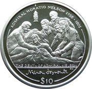 10 dollars Elizabeth II (Nelson mourant, entouré de ses collègues) – revers