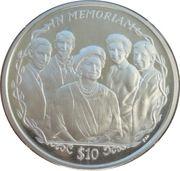 10 Dollars Elizabeth II La Reine Mère et ses petits-enfants – revers