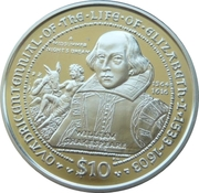 10 Dollars Elizabeth II 'Sir William Shakespeare' – revers