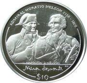 10 Dollars Elizabeth II 'Napoléon et Nelson' – revers