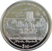 10 Dollars Elizabeth II Course-poursuite dans les Indes occidentales – revers