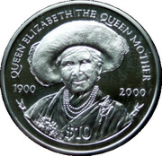 10 Dollars Elizabeth II 'La Reine Mère' – revers