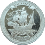 20 Dollars Elizabeth II 'Santa Maria 1492' – revers