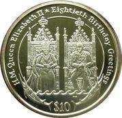 10 Dollars Elizabeth II (80th Birthday Greetings) – revers