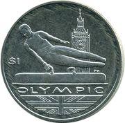 1 Dollar - Elizabeth II 4th portrait; Olympic; Gymnast – revers