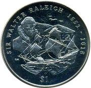 1 Dollar - Elizabeth II (Sir Walter Raleigh) – revers