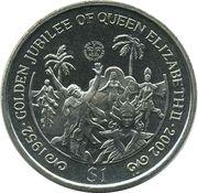 1 Dollar - Elizabeth II (4th portrait; Golden Jubilee) – revers