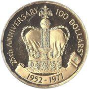 100 dollars - Elizabeth II (2eme effigie - Jubilé d'argent) – revers