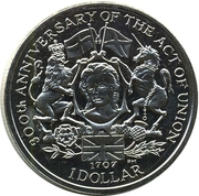 1 Dollar - Elizabeth II (4th portrait; 300th Anniversary of the Act of Union) – revers