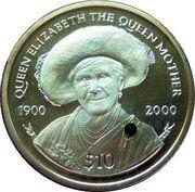 10 Dollars Elizabeth II 'La Reine Mère' avec perle – revers