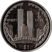 1 Dollar (5th Anniversary Attack on Twin Towers) – revers
