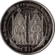 1 Dollar (Elizabeth II and Philip on their thrones) – revers