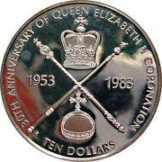 10 Dollars - Elizabeth II (30ème anniversaire de couronnement) – revers