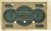 100 francs (Banque Cantonale Neuchâteloise) – revers