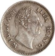 ¼ roupie - William IV – avers