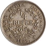 ¼ roupie - William IV – revers
