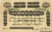 1,000 Rupees (Bombay) – avers