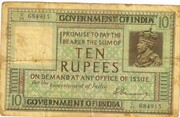 10 RUPEES King George V - 1st Issue - Type 1 – avers