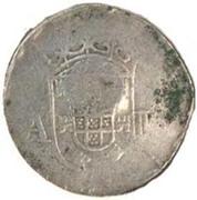 "1 Larim ""Countermark VOC over 2 Tangas Filipe III"" (Goa mint to Malaca"" – revers"