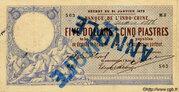 5 Dollars / 5 Piastres – avers