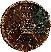 12 Pence - James II (Gun Money Coinage) – revers
