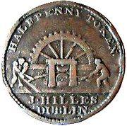 ½ Penny (Dublin - Hilles Ironmongers) – avers