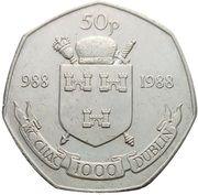 50 pence (Millénaire de Dublin) – revers