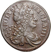 ½ Penny - Charles II (Large letters) – avers