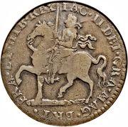 "1 Crown - James II (Gun Money Coinage; sword after ""REX"") – avers"