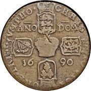 "1 Crown - James II (Gun Money Coinage; sword after ""REX"") – revers"