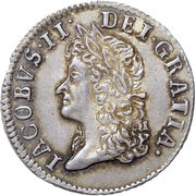 12 Pence - James II (Gun Money Coinage; Silver Proof Issue) – avers