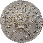 12 Pence - James II (Gun Money Coinage; Silver Proof Issue) – revers