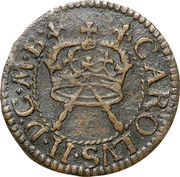 """1 farthing Charles II (""""Armstrong"""" issue) – avers"""
