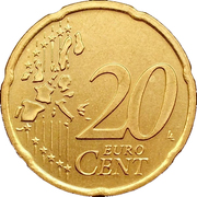 20 cents d'euro (1ère carte) -  revers