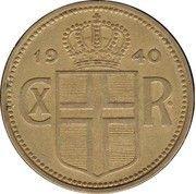 2 krónur - Christian X – avers
