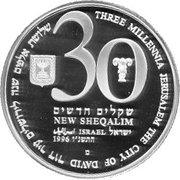 30 New Sheqalim (Independence - Three Millennia Jerusalem) – avers