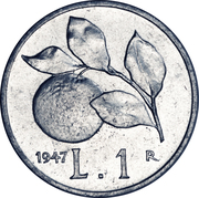 1 lire – revers