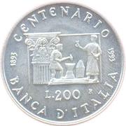 200 lires Banque d'Italie – revers