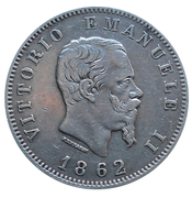 1 lire Victor-Emmanuel II (argent 900‰) – avers