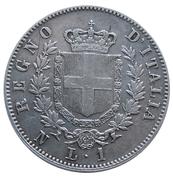 1 lire Victor-Emmanuel II (argent 900‰) – revers