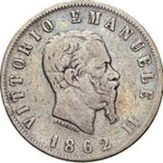 2 lires Victor-Emmanuel II (argent 900‰) – avers