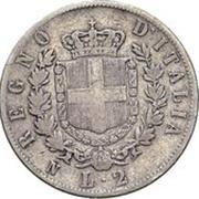 2 lires Victor-Emmanuel II (argent 900‰) – revers