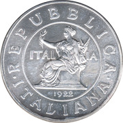 1 Lira Storia della Lira 1922 – avers