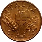 10 centesimi Victor-Emmanuel III (cuivre) – revers