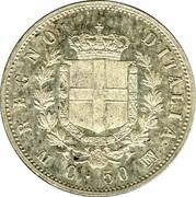 50 centesimi Victor-Emmanuel II (argent 835‰) – revers