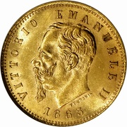 5 lires Victor-Emmanuel II (or) – avers